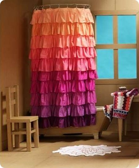 Ruffle Shower Curtain Could Easily Have Matching Curtains Or Chair Painting  Or Pillows.