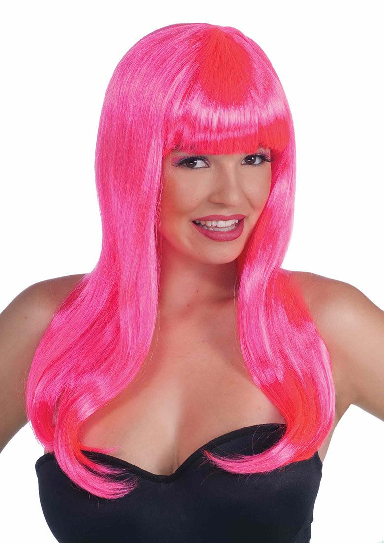 neon pink wig with bangs