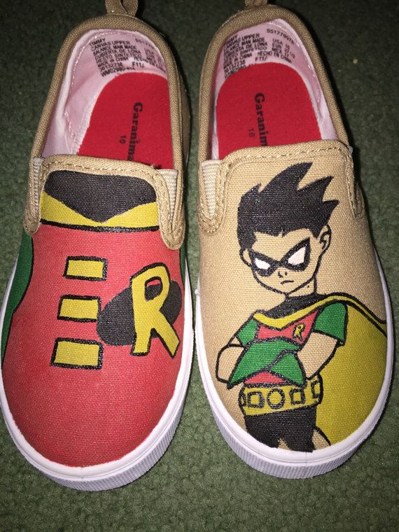 44506aa064 Batman   Robin Kids Hand-Painted Shoes by HandmadebyFoxieB on Etsy ...