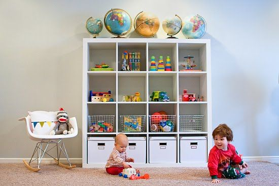IKEA Expedit In White Used For Toy Storage (love The Eames Style Rocker And  Globe