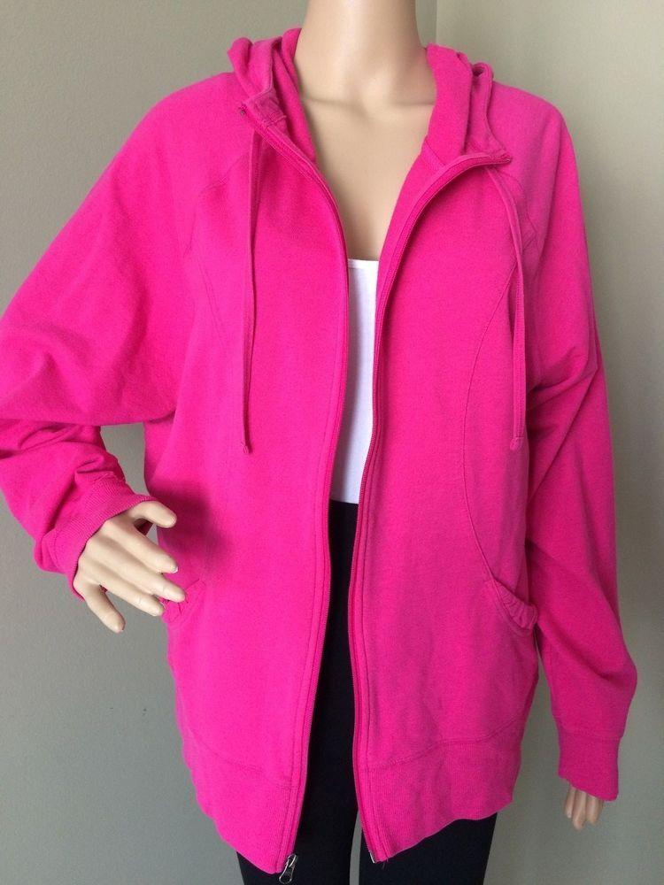 Champion Workout Hoodie Full Zip Jacket Running Shirt Womens Cotton 2XL Hot  Pink  Champion  TracksuitsSweats 4b3de1531