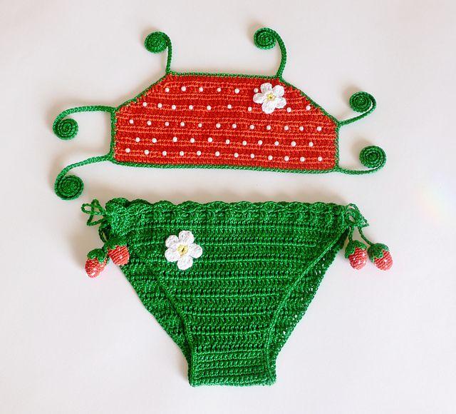 Ravelry: STRAWBERRY bikini, two pieces swimsuit pattern by Crochet ...