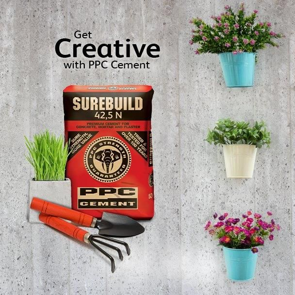 #PPC Cement is giving away R30 000 cash and R5000 hardware vouchers to fans who get the most creative with PPC Cement! All needed is a photo of your DIY project, pictured with the bag of PPC Cement that you used to make it and post it by clicking this link http://on.fb.me/N68jZ3. Ts & Cs apply: http://bit.ly/1mbS7Fa