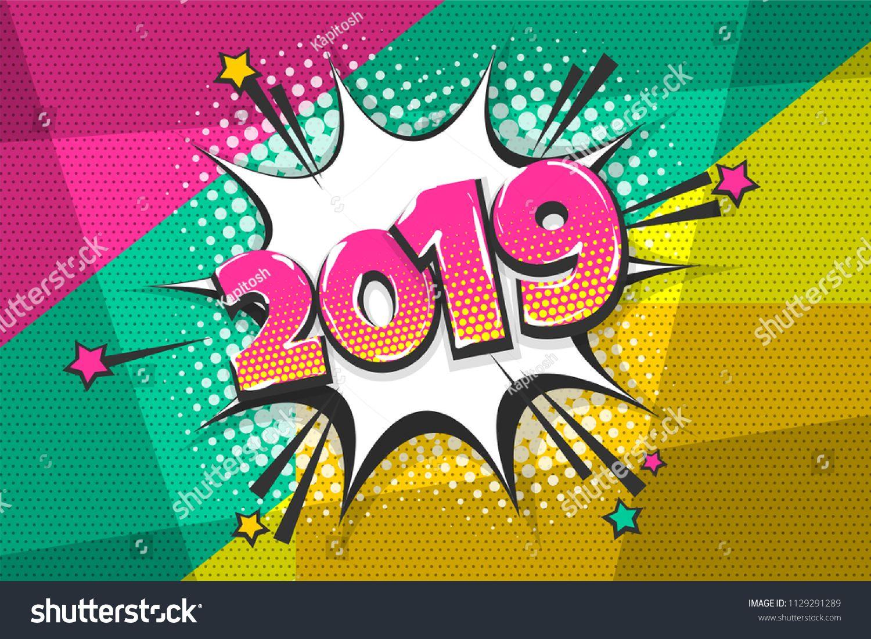 2019 happy new year christmas comic text speech bubble