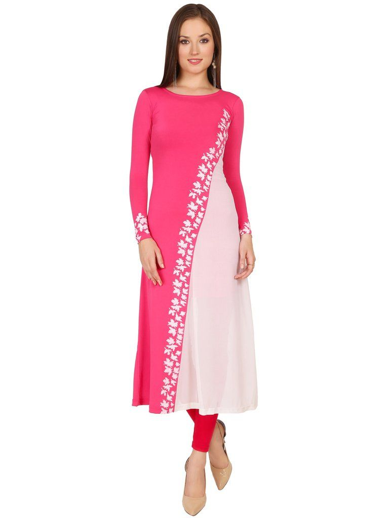 ec3965caf9 Ira Soleil Pink & Off White Polyester Long Kurti @Looksgud.in #Ira Soleil  #PinkAndOff White #Long Kurti