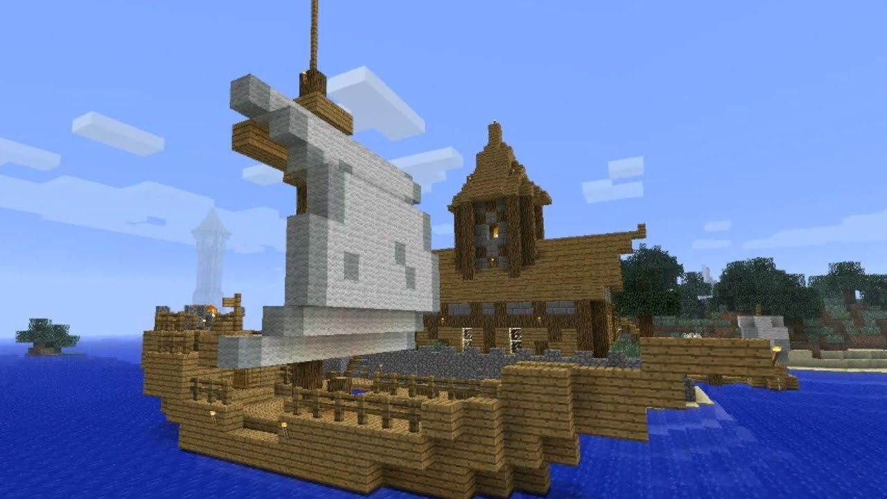 Minecraft Tutorial: How to build a medieval ship (small) | Minecraft ...