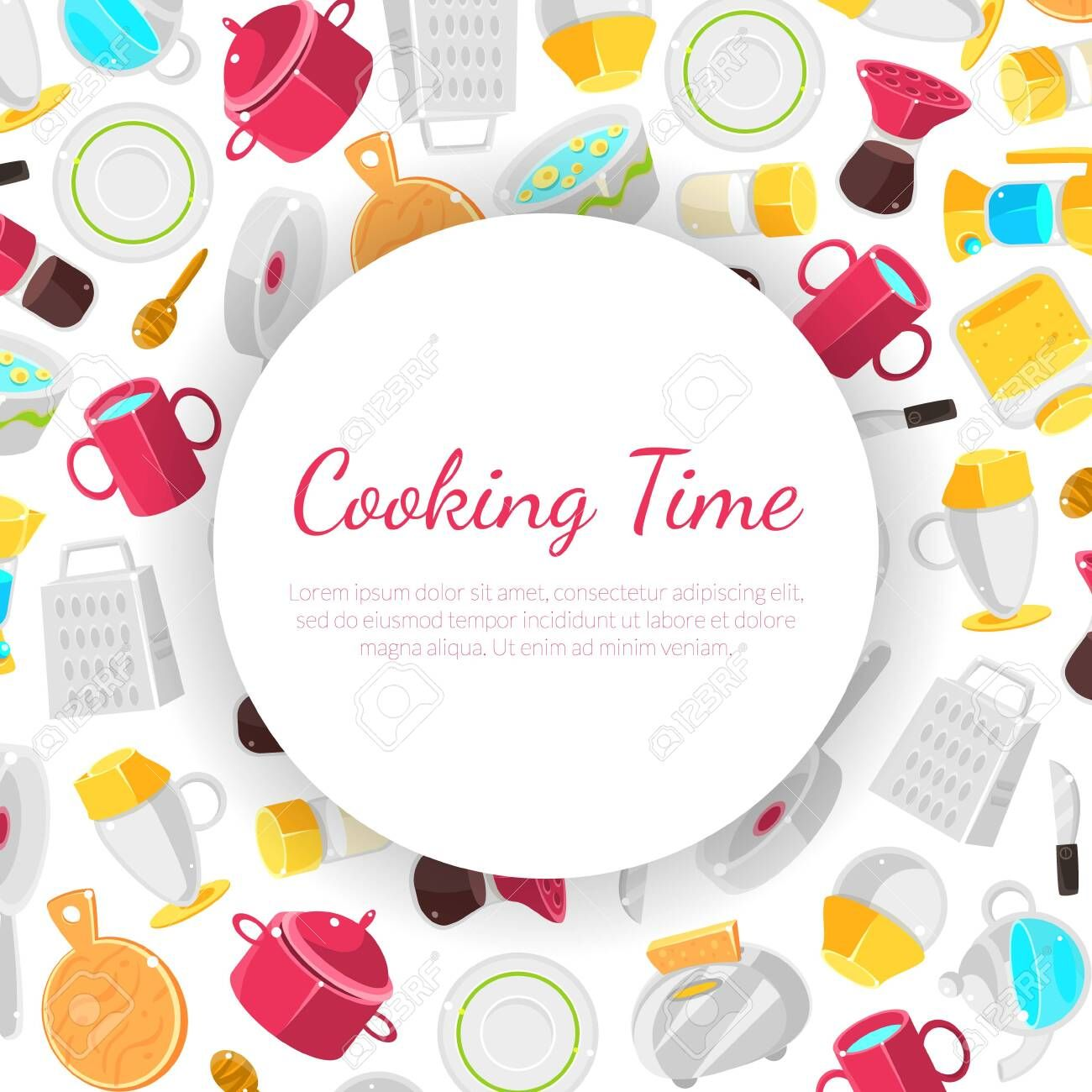Cooking Time Banner Template With Place For Text Vector Illustration Illustration Ad Banner Template Cooking Time In 2020 Banner Template Templates Banner