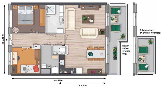 3 slaapkamers huis plattegrond | Plate gronden | Pinterest | House
