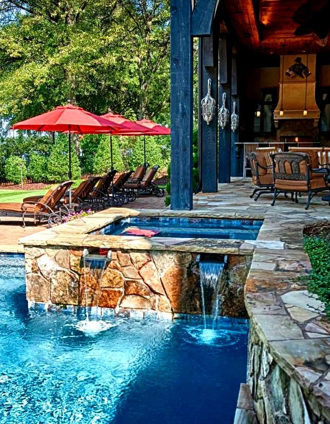 Up Close Look Of The Pool And Spa Luxury Homes House Pool Spa Backyard Yard Design Stone Pa Pool Patio Beautiful Outdoor Living Spaces Outdoor Spaces