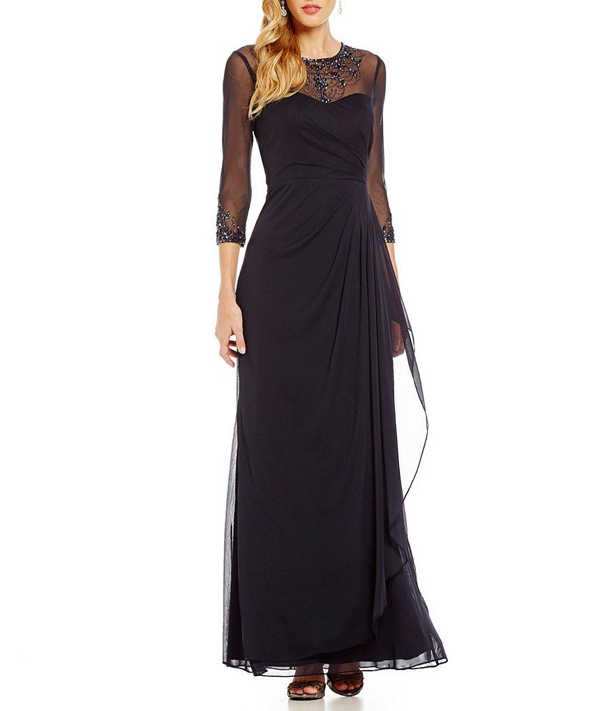 Navy:JS Collections Beaded Illusion Necklace Gown   Dresses ...