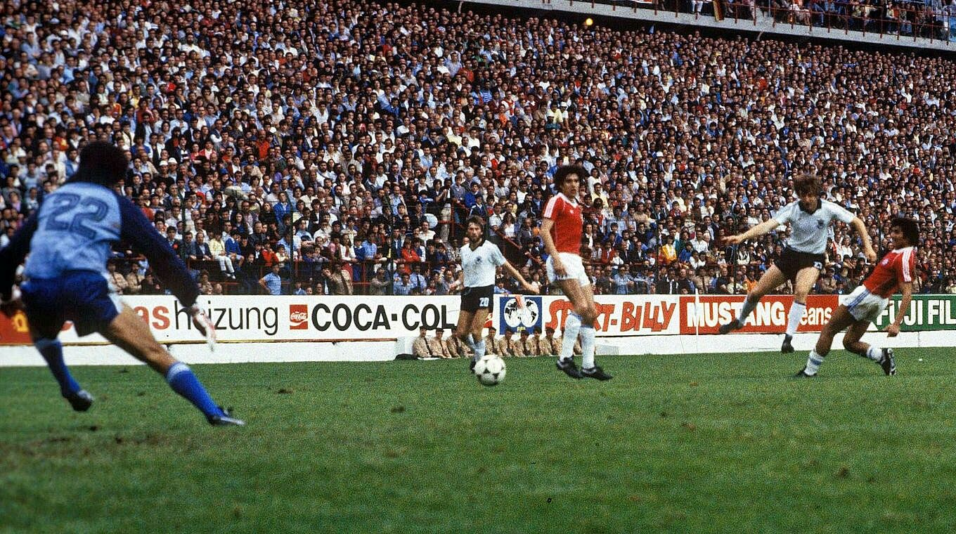 West Germany 4 Chile 1 in 1982 in Gijon. Uwe Reinders smashed in goal 4 for Germany on 81 mins in Group 2 at the World Cup Finals.