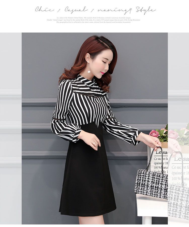 1e8022dde87 Autumn Striped Dress Female 2018 Korean Style New Style Fashion Middle-aged  Elegant Large Size Joint Slimming A-line Dress Sub-