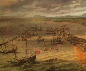 """Porto do Recife, no século XVII, foco da revolta de """"Nosso Pai""""."""
