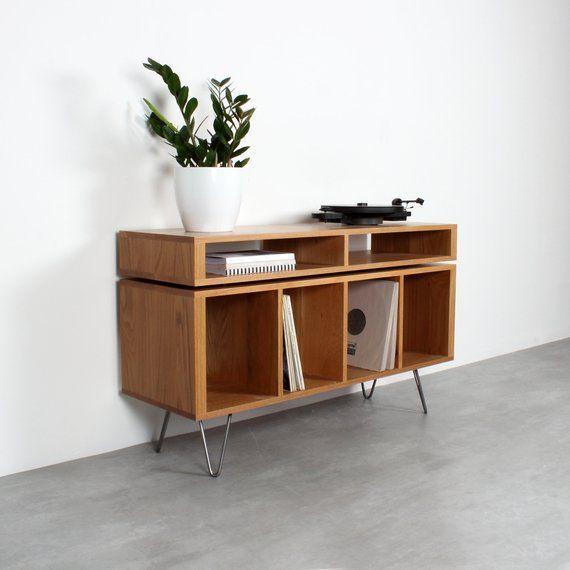 "Photo of Oak Vinyl Storage Record Player Stand With Media Storage Console. Custom Sizes. ""Kelston Mid Century Oak"""