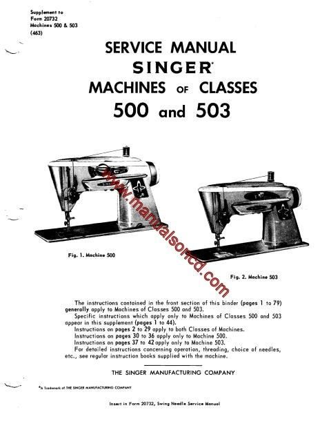 Singer 500 and 503 Sewing Machine Service Manual. Covers