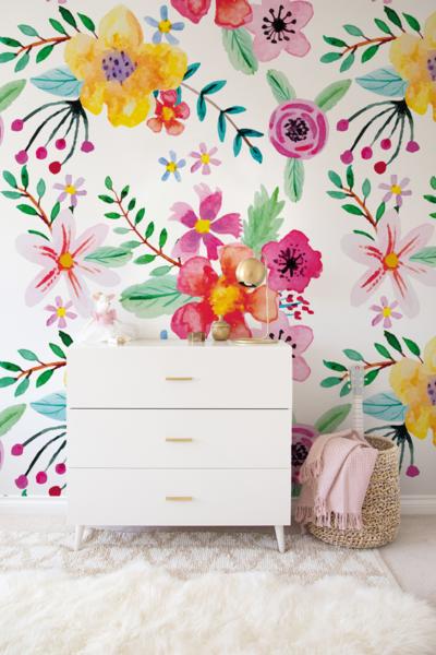 Kwiaty Akwarela Fototapeta Do Pokoju Dzieciecego Coloray Tapety Girl Room Nursery Wallpaper Floral Wallpaper