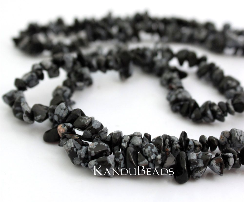 """Snowflake Obsidian, Black Onyx, Agate, Small Chip Beads 5-10mm LONG 34"""" strand"""
