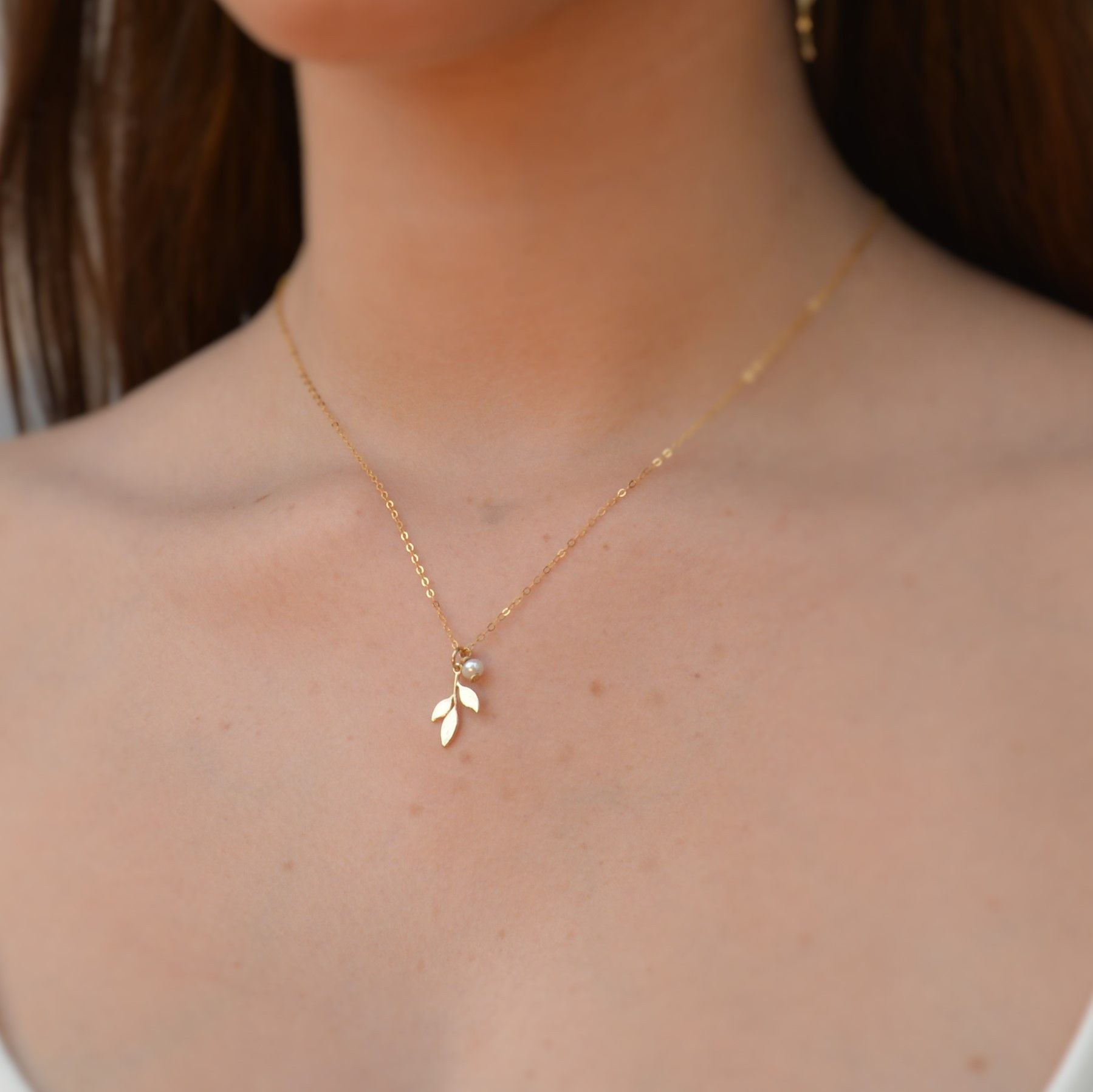 Leaf Necklace White Freshwater Pearl Leaf Gold Filled Necklace