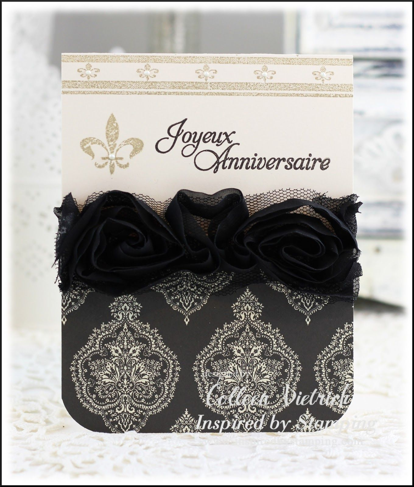 Inspired by Stamping, French Country stamp set, Big Notes in French stamp set, anniversary card