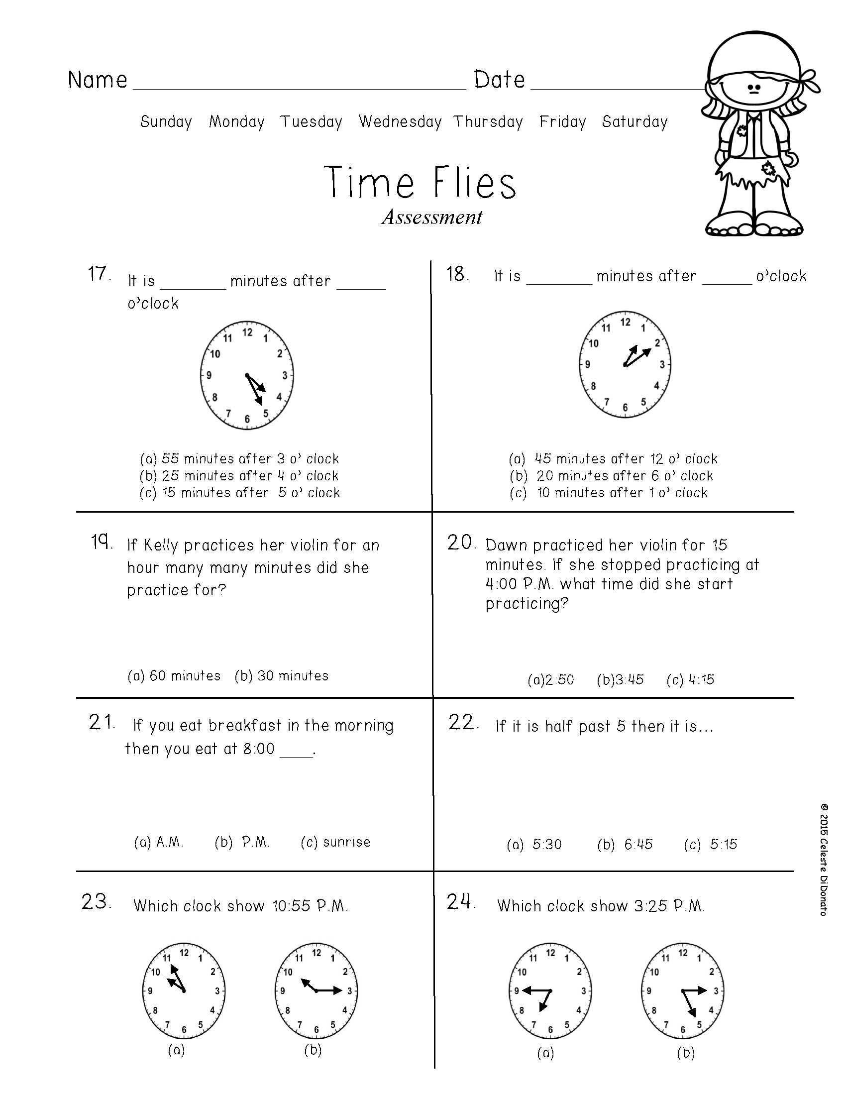 Clocks Pirates Printables And Centers Student Data Forms Math Anecdotal Notes [ 2200 x 1700 Pixel ]