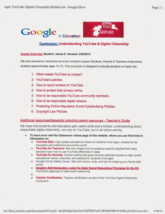 Here is the Google YouTube Digital Citizenship certification Module ...
