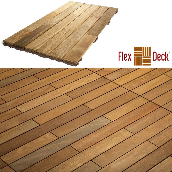 Flexdeck Hardwood 36 X 18 Snap In Deck Tiles Natural Reviews Wayfair
