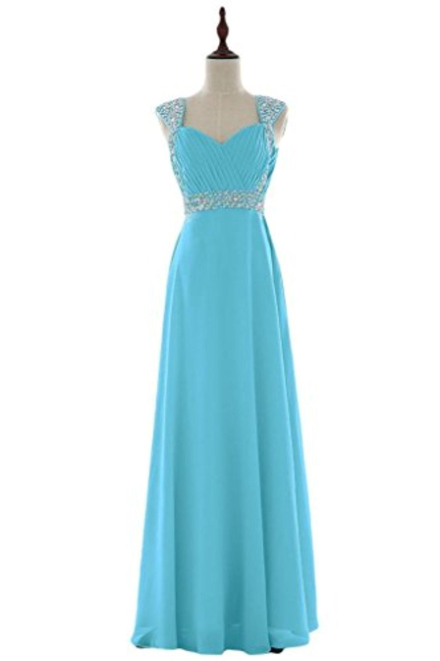 BessWedding Floor Length Chiffon Blue Evening Gowns Prom Dress for ...