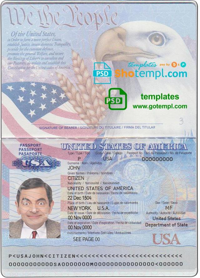 Usa Passport Template In Psd Format Fully Editable With All Fonts Passport Template Templates Id Card Template