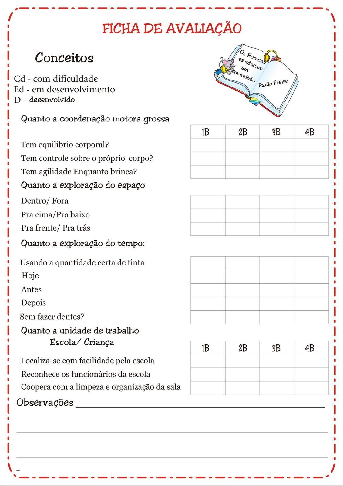 Suficiente Fichas de Avaliação e Conceitos Educação Infantil | Ideia Criativa  YQ21