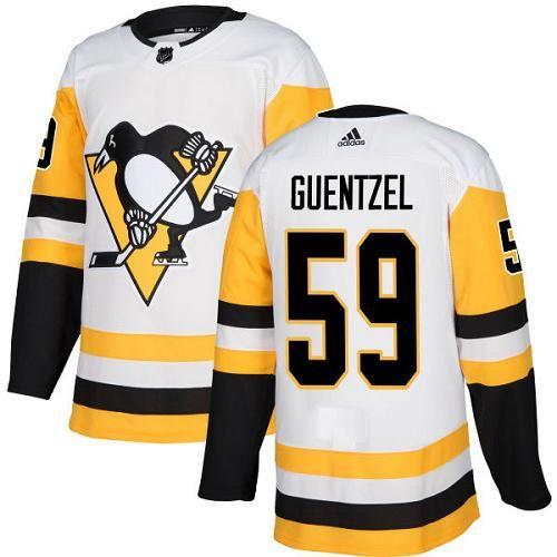 e89a0cc47 Adidas Penguins  59 Jake Guentzel White Road Authentic Stitched NHL Jersey