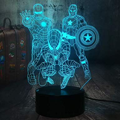 The Avengers Marvel Comics Iron Man Spiderman Captain America 3d 3d Optical Illusion Led Night Light Boy Kids Toy B Boy Decor 3d Optical Illusions Marvel Gifts