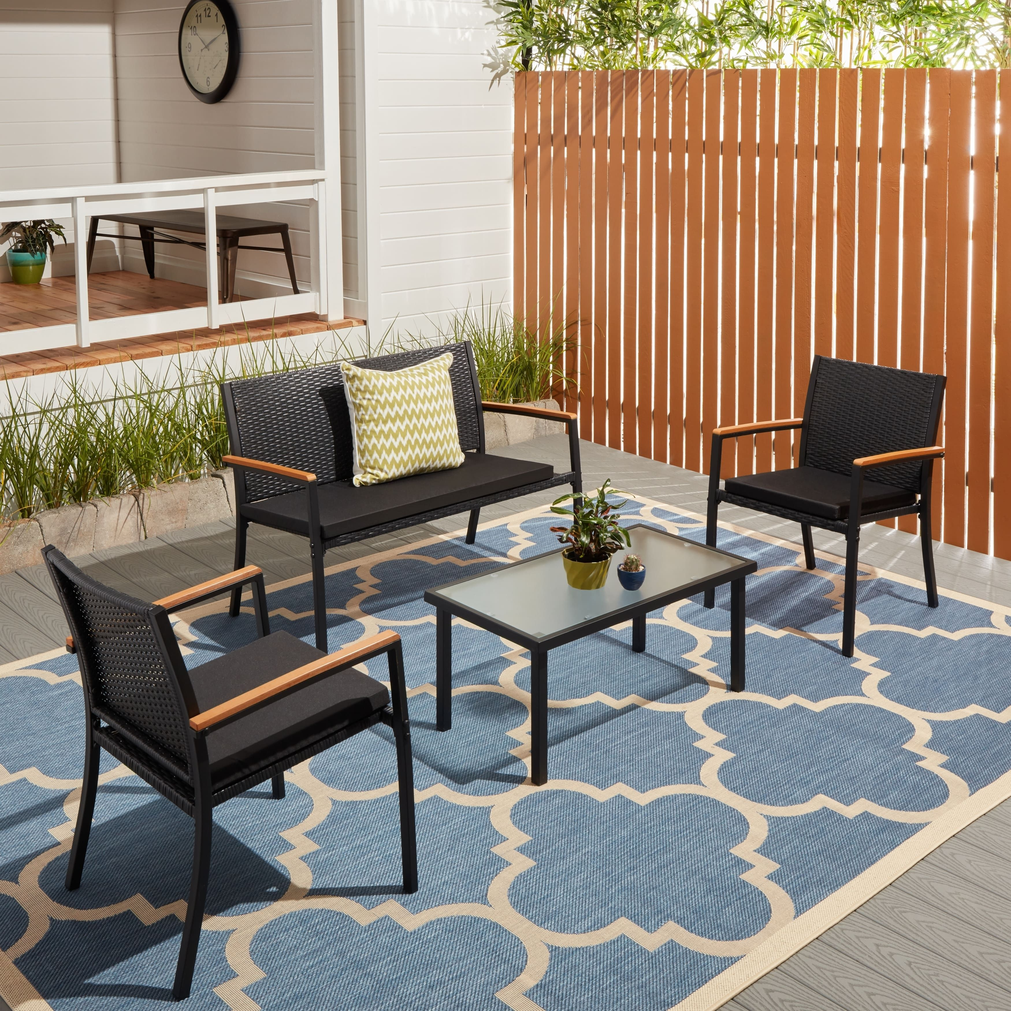 Corvus Lecco Black Wicker Outdoor 4 piece Seating Set