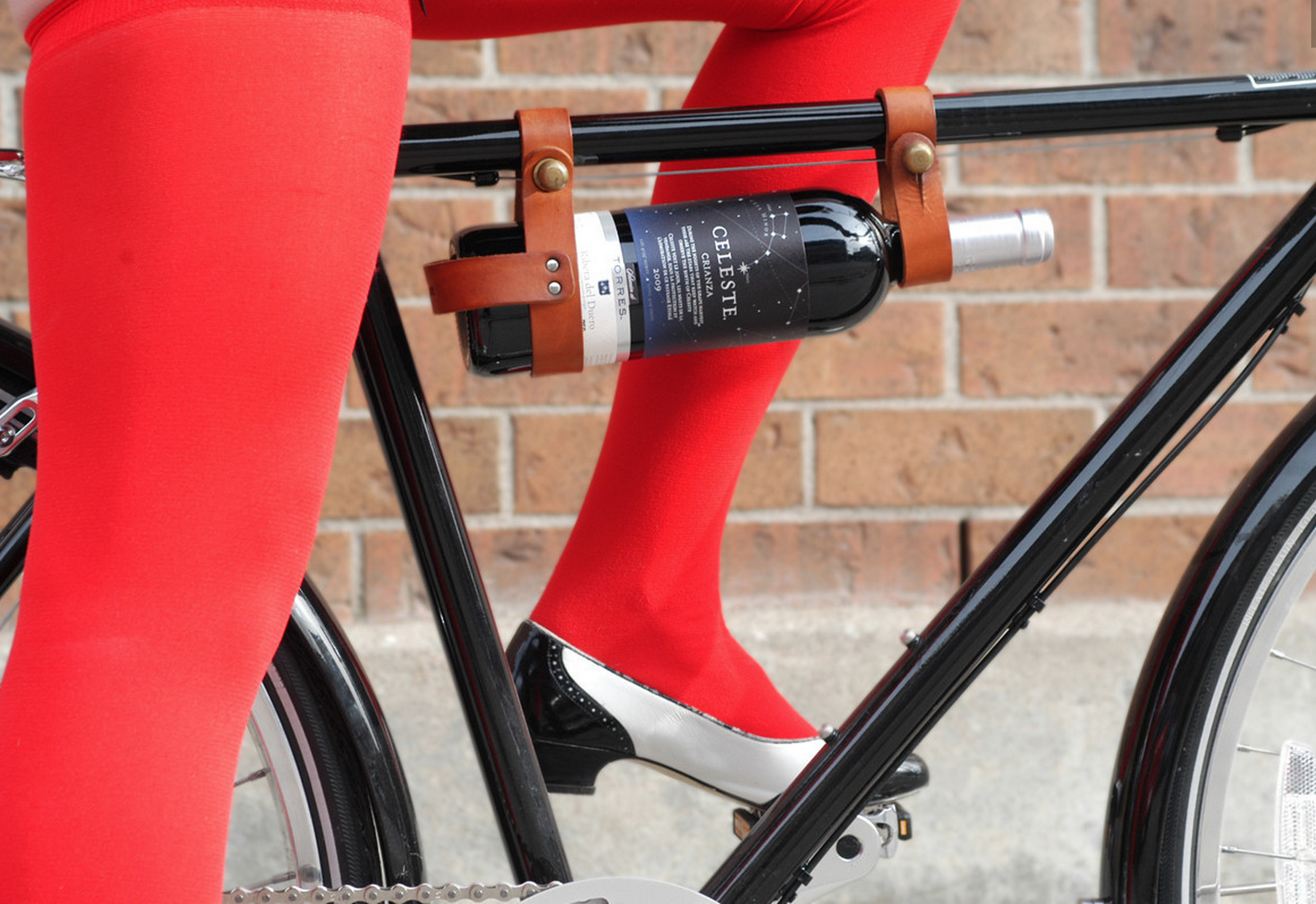 Because Biking Is Thirsty Work Right Wine Rack Leather Bicycle