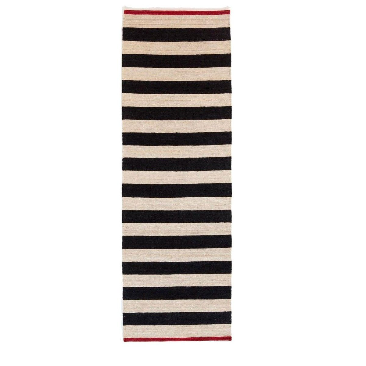 Nanimarquina   Mélange Stripes 2 Kilim Wollteppich / Läufer   Schwarz Weiß   Rot/80x240cm