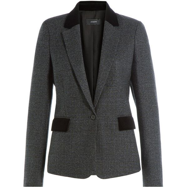 Joseph Printed Wool Blazer (13 905 UAH) ❤ liked on Polyvore featuring outerwear, jackets, blazers, grey, gray wool blazer, wool jacket, wool lined jacket, gray jacket and grey wool blazer