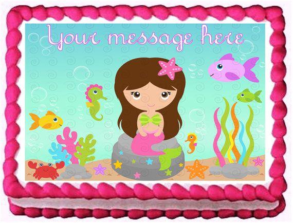 MERMAID Birthday Cake Edible image cake topper by Galimelisworld