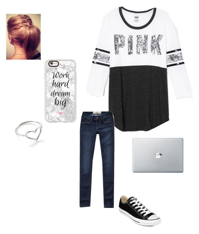"""""""Day 1:school day ✏️"""" by hquate ❤ liked on Polyvore featuring Victoria's Secret, Hollister Co., Converse, Casetify, Jordan Askill and emilysfallcontest"""