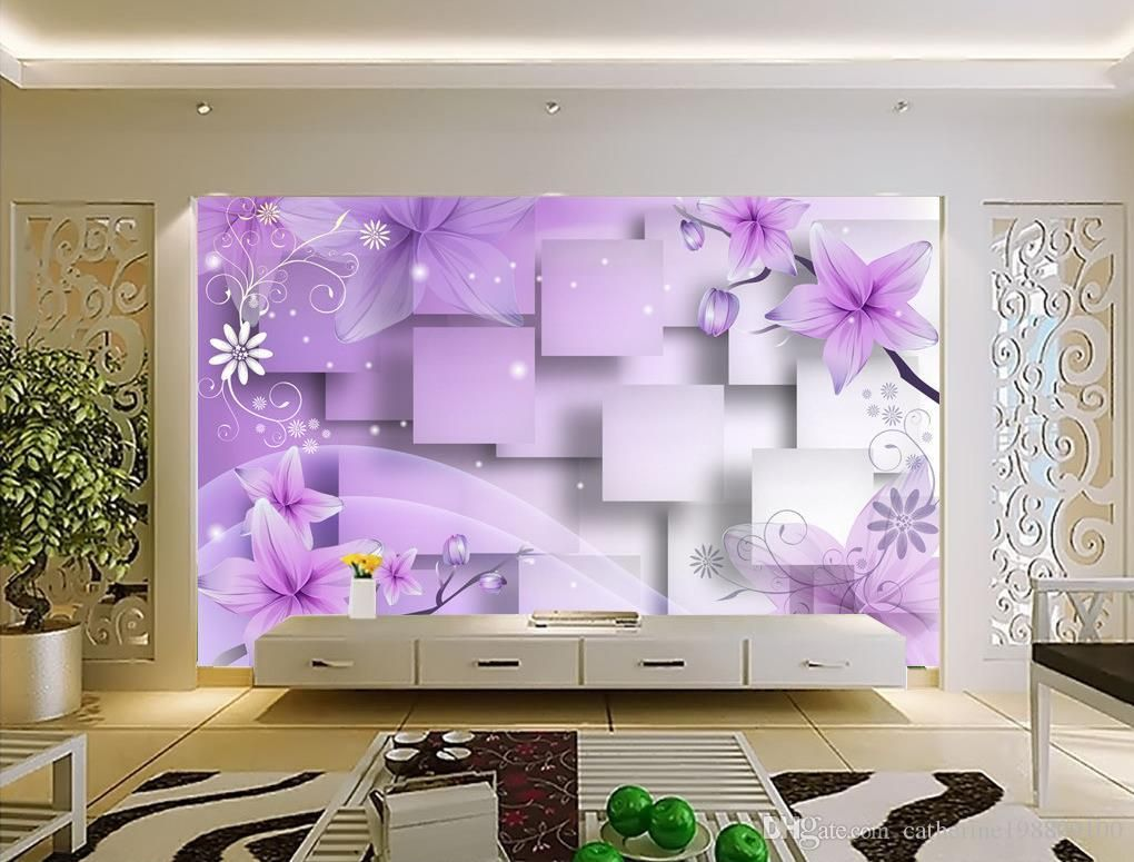 Photo Customize Size 3d Purple Warm Flowers Tv Wall Mural 3d Wallpaper 3d Wall Papers For Tv Backdrop Wall Murals 3d Wall 3d Wall Murals