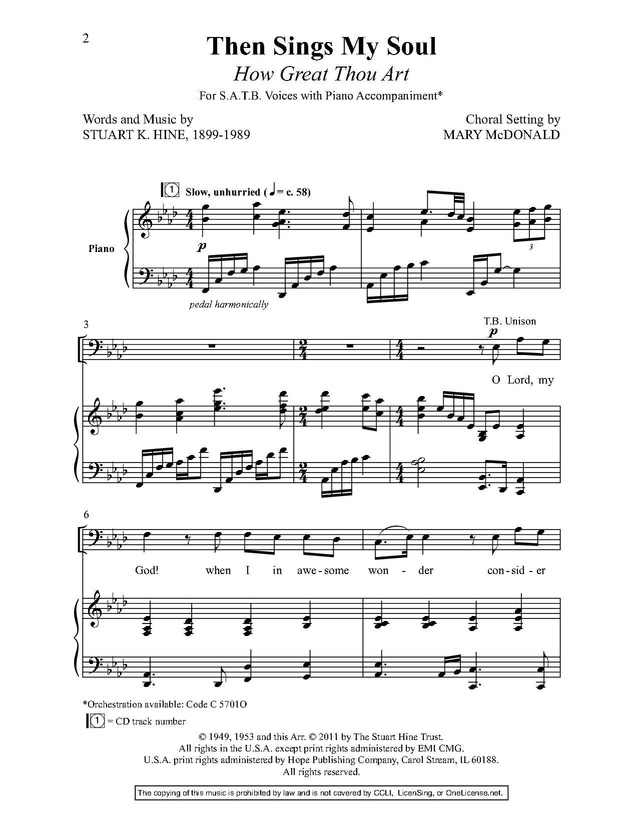 Then Sings My Soul (SATB ) by Stuart K  Hine | J W  Pepper