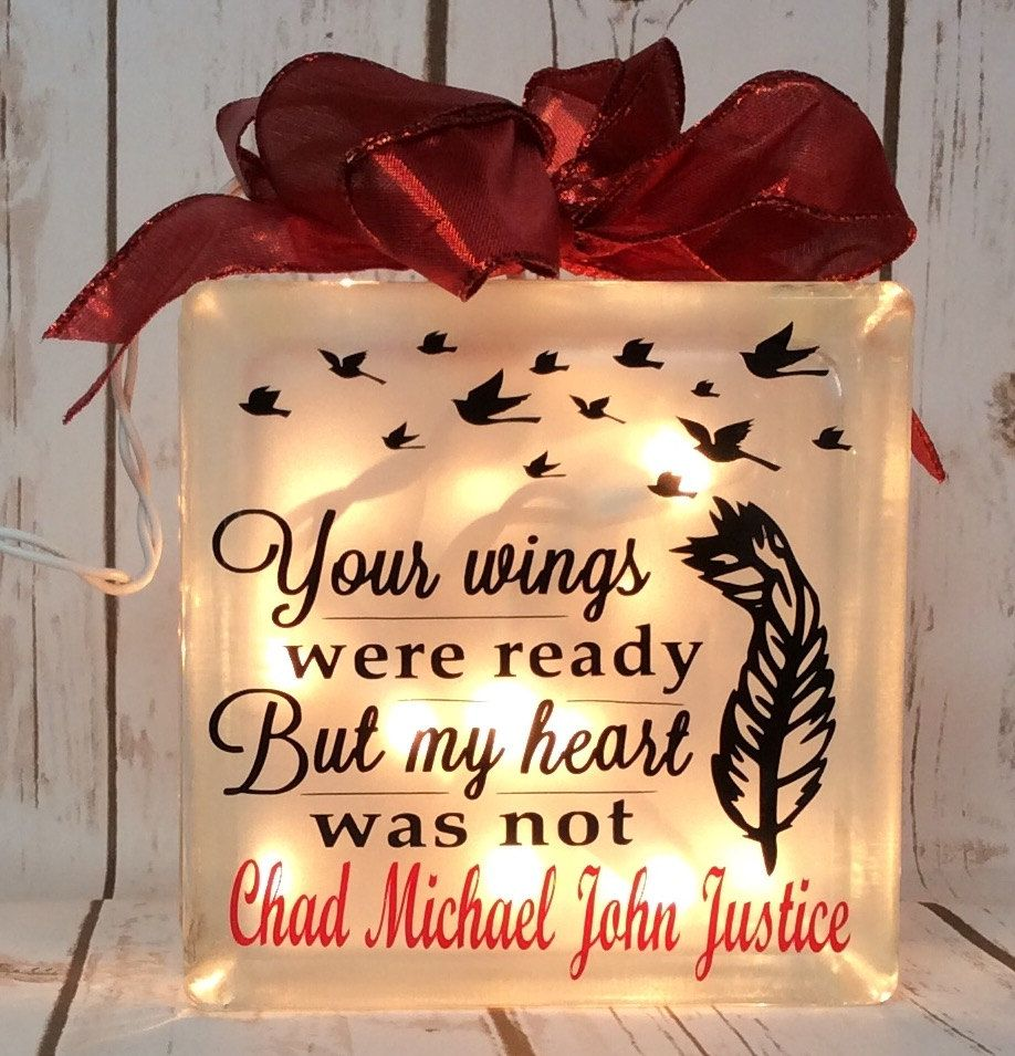 Glass block crafts projects - Glass Block Craft Lights Your Wings Were Ready But My Heart Was Not Lighted Glass