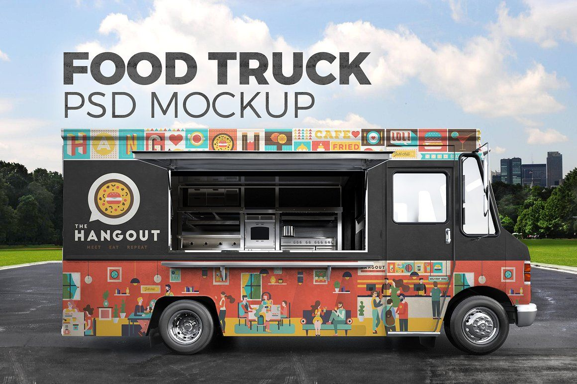 Food truck. PSD Mockup Food truck design, Truck design