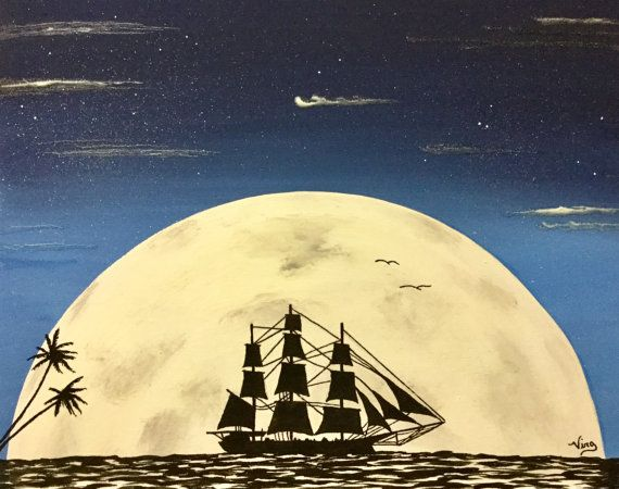 Glowing Art Pirate Ship moon rise Glow in the Dark Painting ocean ...