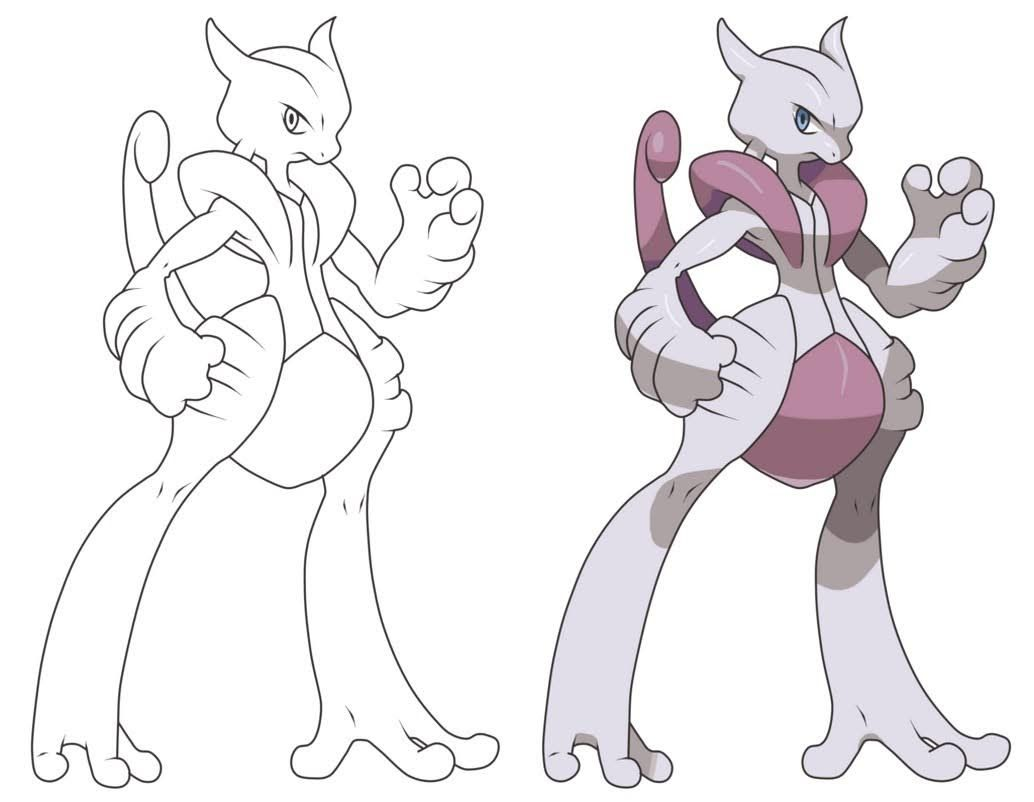 Mega Mewtwo X Coloring Page