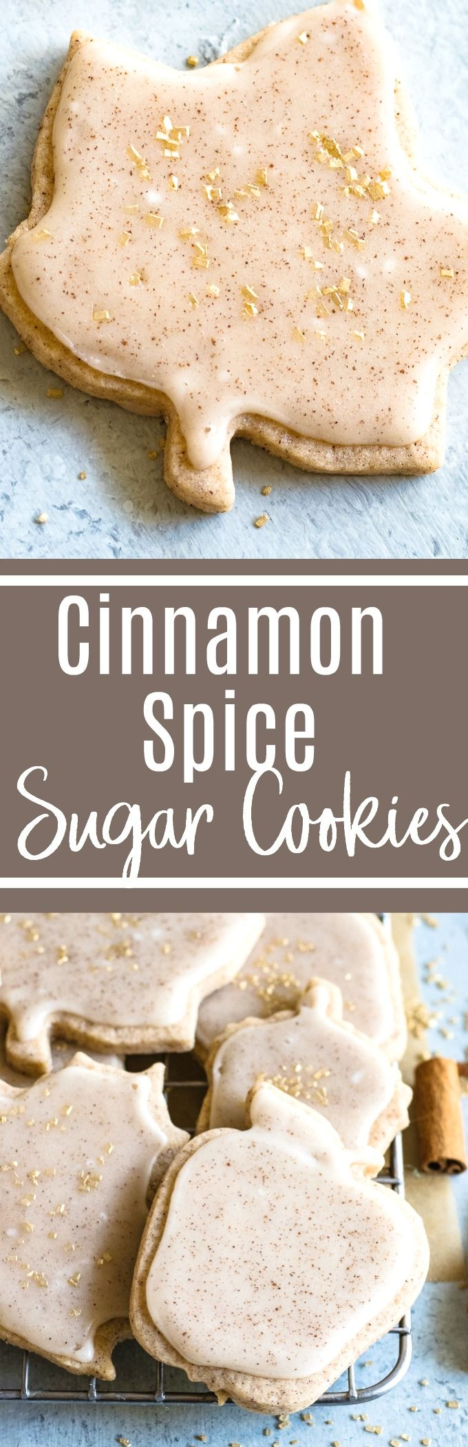 Cinnamon Sugar Cookies. These soft and buttery sugar cookies are loaded up cinnamon and spice plus they're topped with cinnamon icing for even more flavor! Perfect for Fall #cinnamonsugarcookies