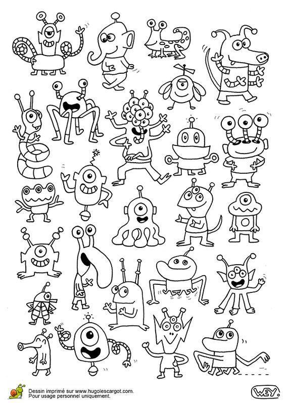 Plein d extraterrestres page 13 sur 18 sur trazos pinterest monstres - Monstres dessin ...