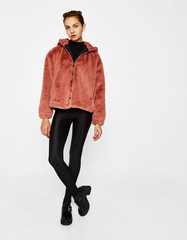 31d216329e413 Bershka Croatia - Faux fur jacket with hood   Style   Pinterest ...
