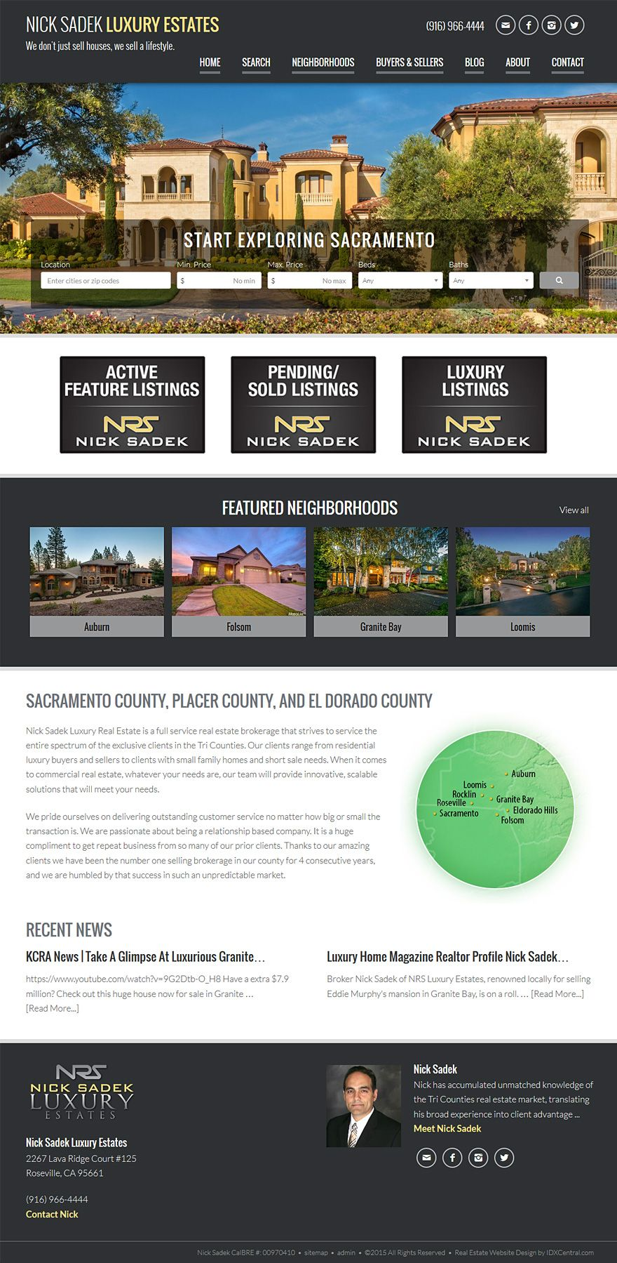 California Realtor Nick Sadek Real Estate Wordpress Website Is Built On Our Semi Custom Respo Real Estate Website Sacramento County Responsive Website Design