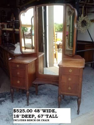 Antique Vintage Shabby Chic Unfinished Furniture / Triple Mirror Drop  Center Vanity, Make Up Table
