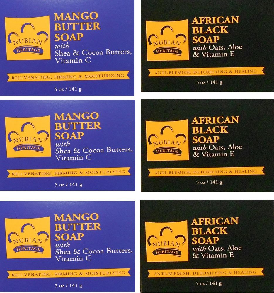 Nubian Heritage 3 African Black Soaps 3 Mango Butter Soaps