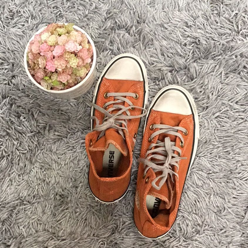 Brand Newold Orange Colorgray Shoe Lacedirty Look Shoes